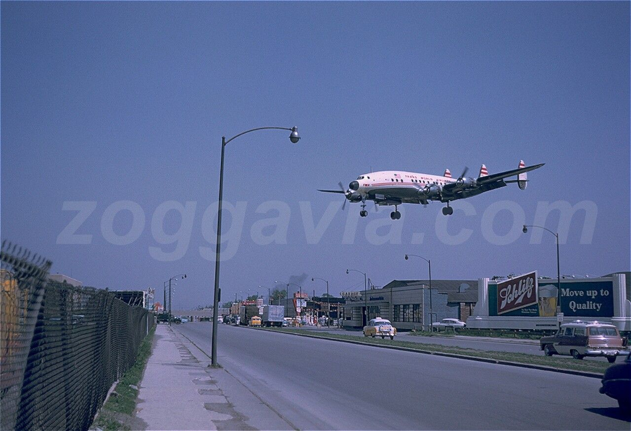 N7114C L-1049 Constellation of TWA on approach to Los Angeles (LAX) airport in May 1958