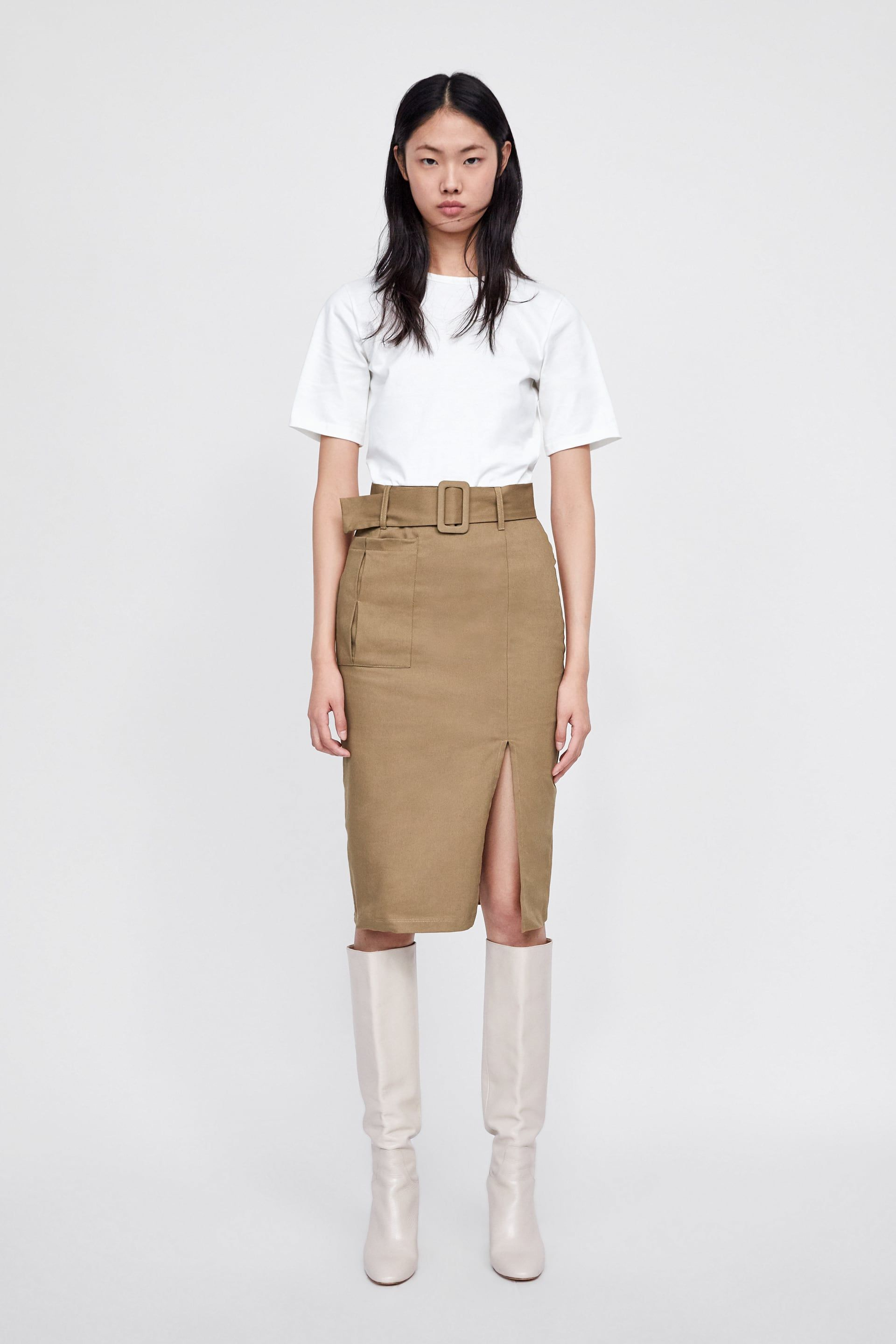 c8e4cb0ae46100 Image 1 of DRESS WITH CONTRASTING BELT from Zara