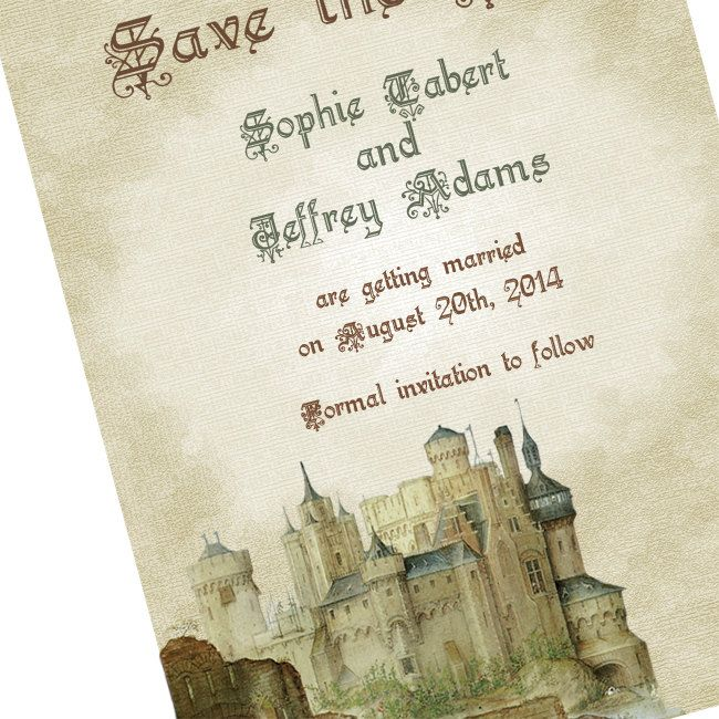 Handfasting Invitation: Camelot Castle Save The Date Cards