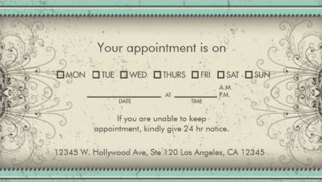 Floral Pattern Damask Elegant Spa Appointment Reminder Business - sample appointment card template