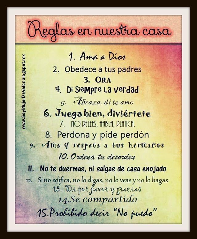 Reglas En Casa Reglas Familiares Tabla De Tareas Reglas De La Casa