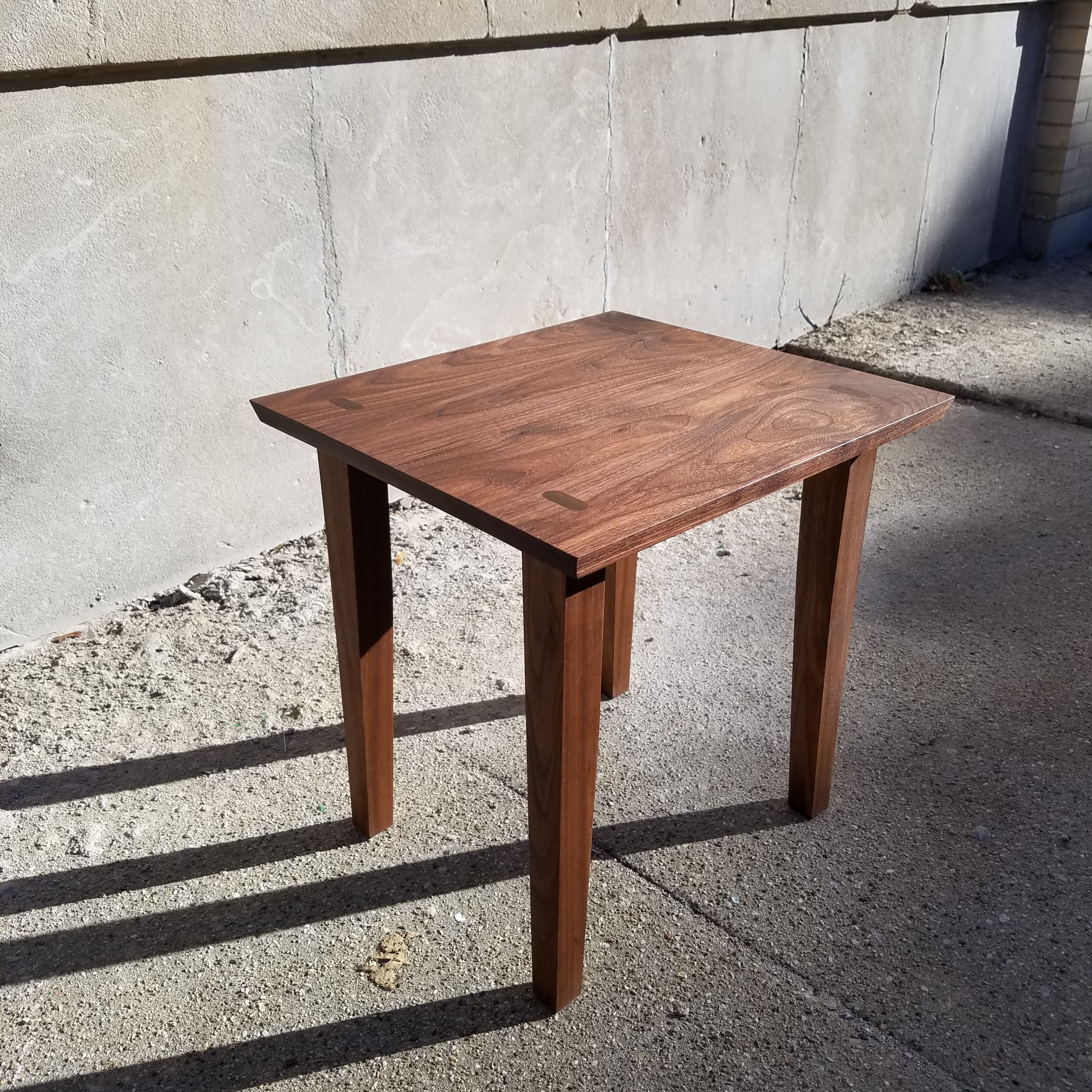 The Boulevard Walnut Side Table With Through Tenon Legs Animas Craft Woodworks Walnut Side Tables Custom Furniture Woodworking