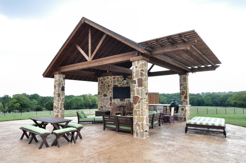 Awesome garland tx outdoor kitchen with big green egg for Outdoor kitchen pavilion designs