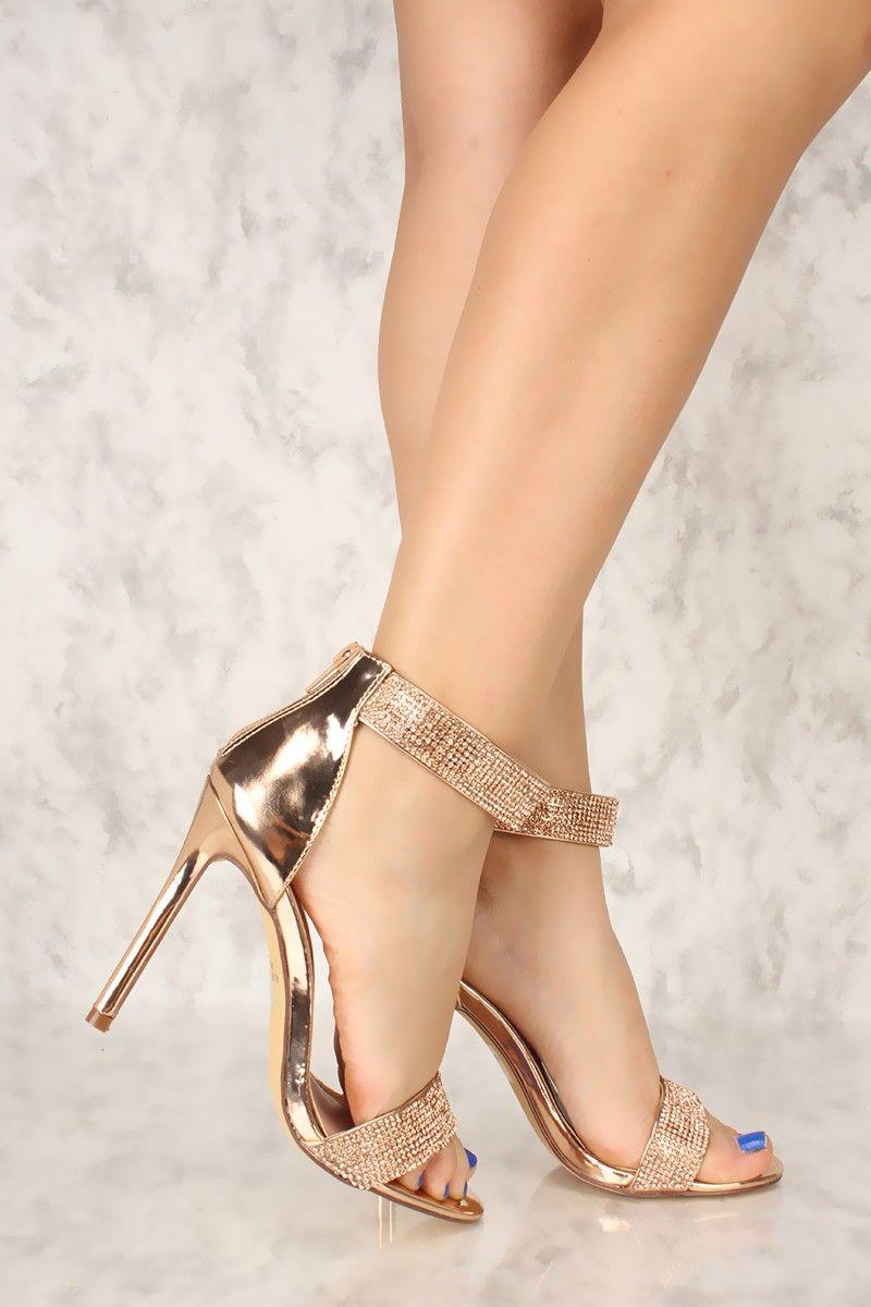 7e76b5cf4 Sexy Rose Gold Rhinestone Open Toe Single Sole High Heels Patent ...