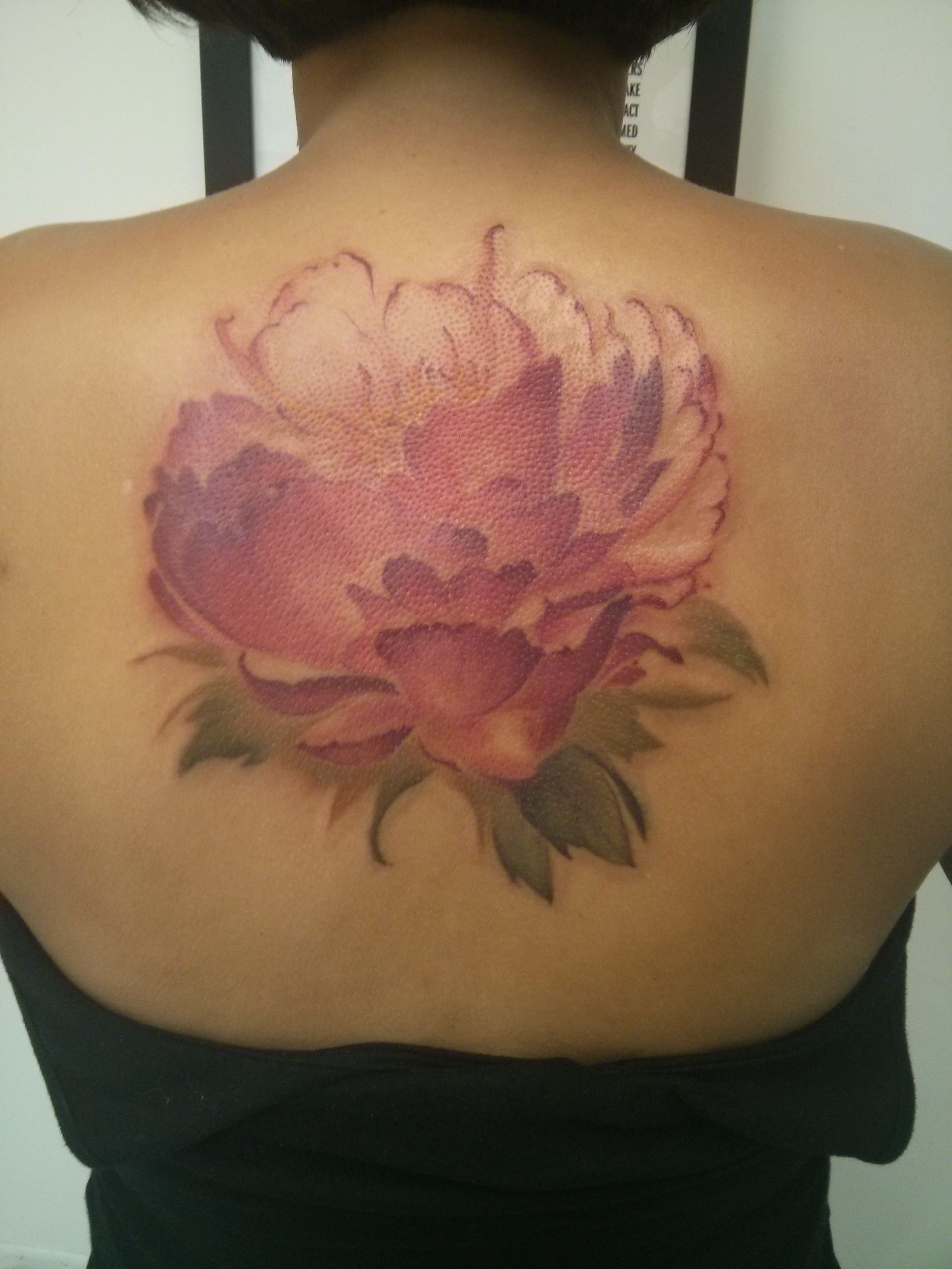 My new peony watercolor tattoo from Derek at Hartless Tattoo in Toronto peo