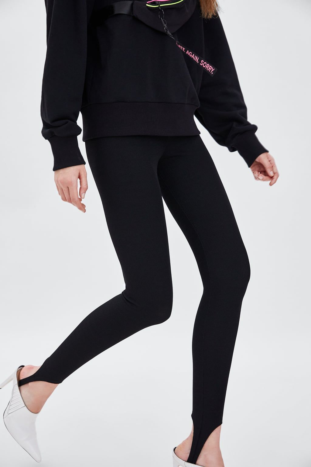 582503f42ebbd Image 3 of TEXTURED WEAVE STIRRUP LEGGINGS from Zara | 2019 Shopping ...