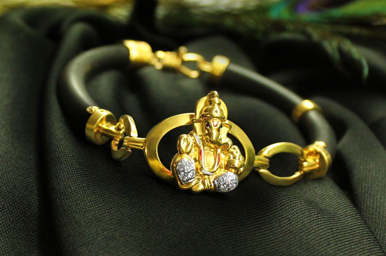 9357861950f Ganesha Bracelet in pure Gold - Rudraksha Ratna | Gold Jewellery in ...