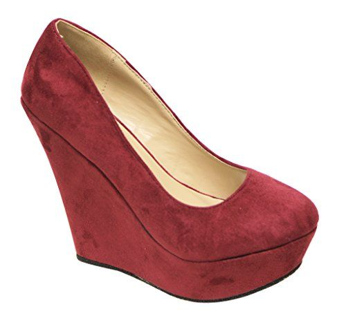 1d66e2d992f2 Delicacy Trendy-33 Women s round toe suede slip on platform wedge heel  pumps shoes Burgundy