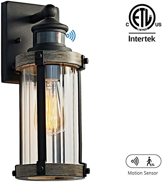 Motini Outdoor Wall Lantern Lamp With Motion Sensor Textured Black Rustic Wall Light With Clear Ribbed In 2020 Outdoor Wall Lantern Lantern Lamp Rustic Wall Lighting