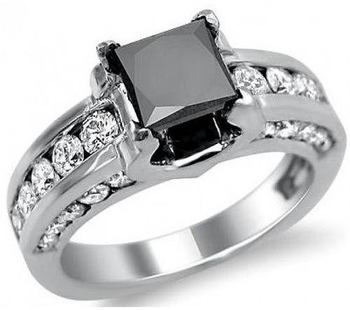 Charmant Black Princess Cut Wedding Rings Images
