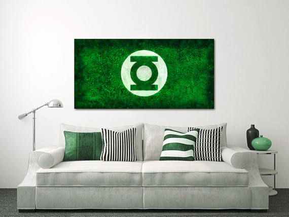 About this product You get a wonderful decoration element for your apartment with the Green & Green Lantern Canvas Large Art painting Poster Wall art interior ...