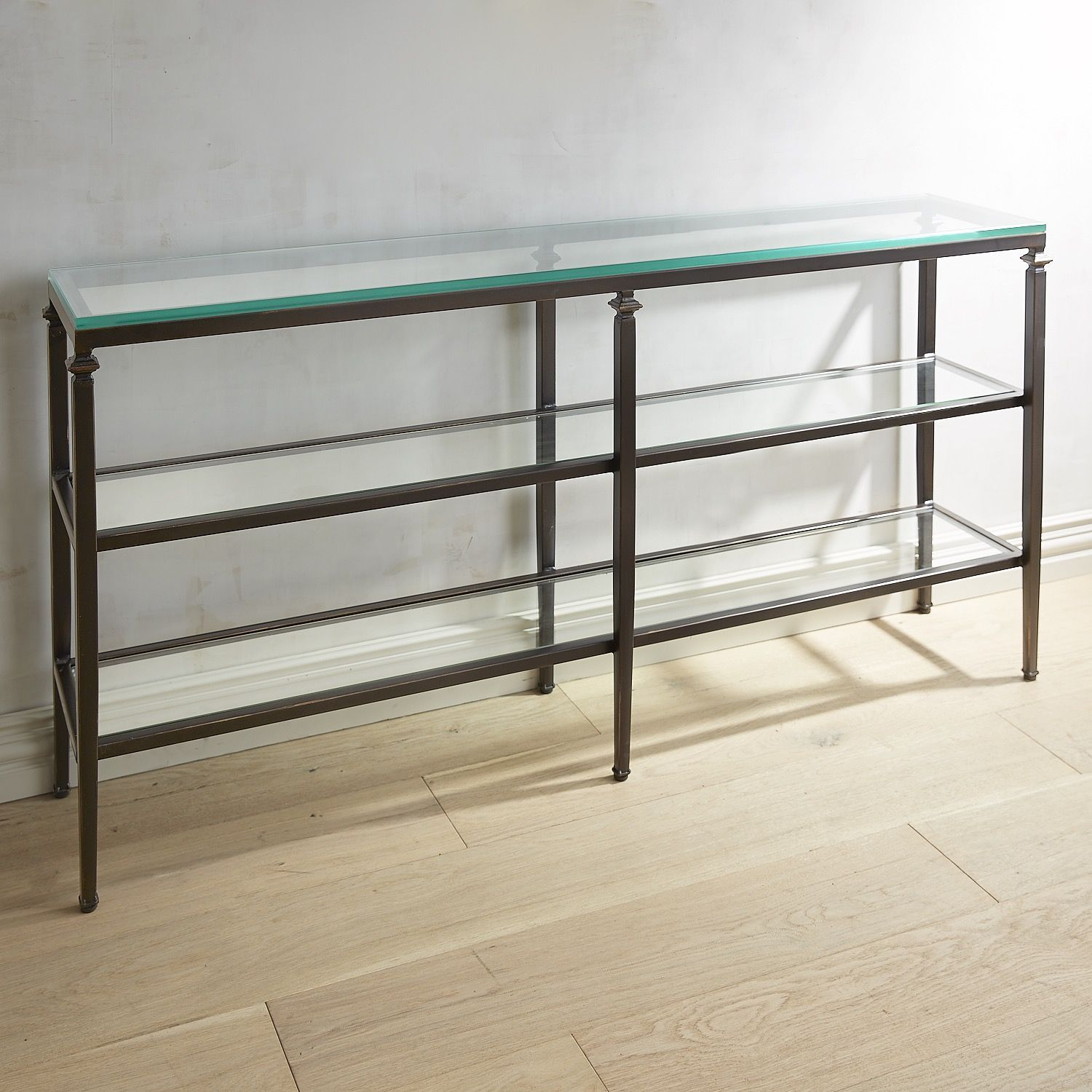Lincoln Glass Top Extra Large 60 Console Table Brown Products