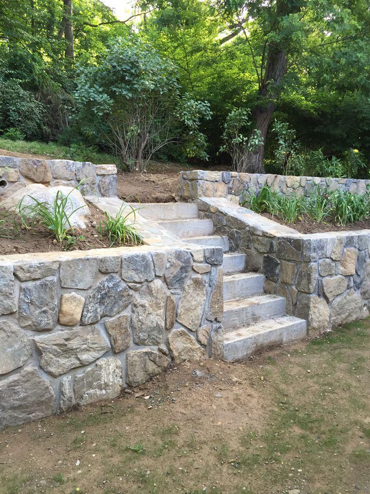 Lovely Stonework In 2020 Sloped Garden Landscaping Retaining Walls Garden Stairs