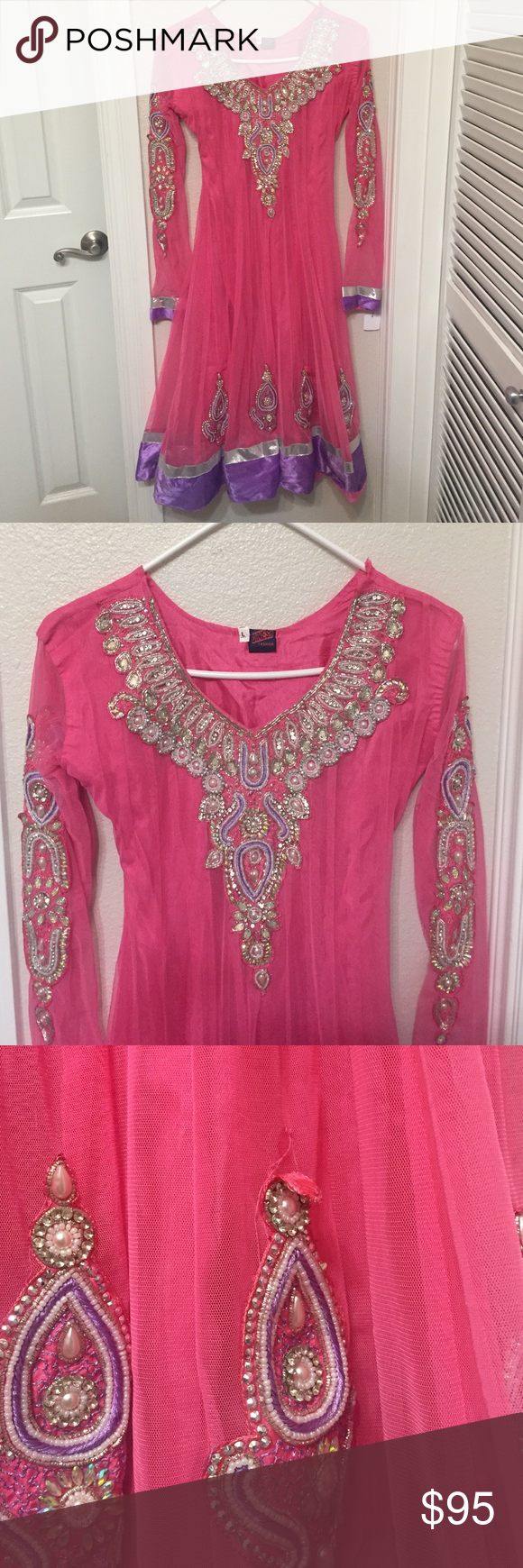 Pink Beaded Dress Beautiful dress by Dinesh Fashion. Great beadwork. There are a couple spots as noted in the last two photos where the beading or fabric needs repair. Dinesh Fashion Dresses Long Sleeve