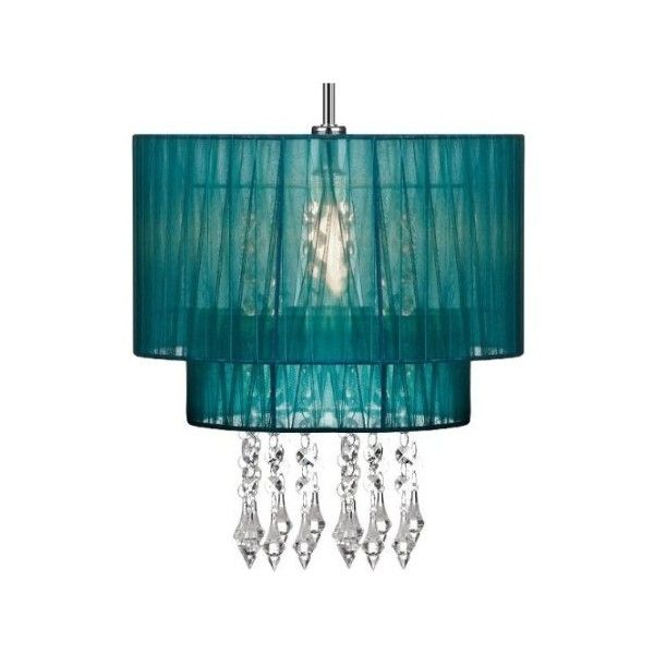 Pendant Shade Beaded Ceiling Light Chandelier Teal Voile