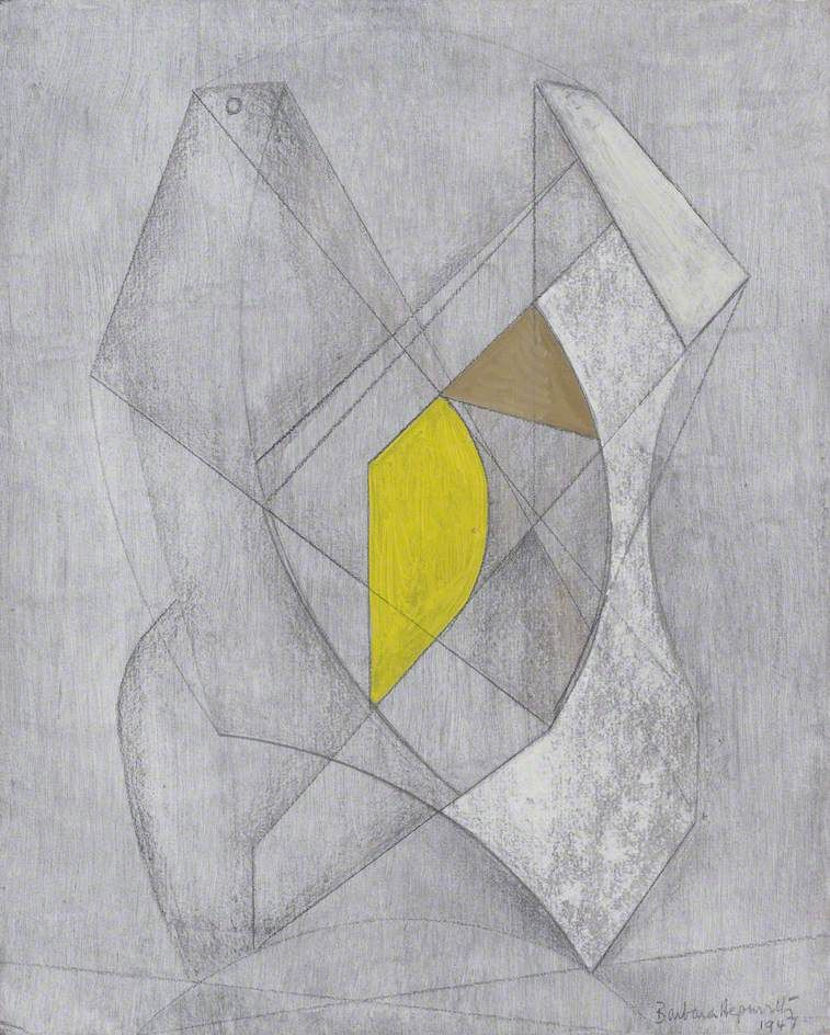 Two Forms, Yellow and Brown -  by Barbara Hepworth - Date painted: 1947 Oil & graphite on hardboard, 29 x 23.5 cm Collection: Kettles Yard, University of Cambridge