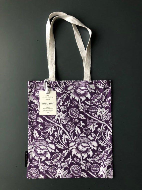 Tote bag. William Morris 'Wey' design. Book bag. Reusable shopper. Screenprinted.  100% Cotton. #woodentotebag