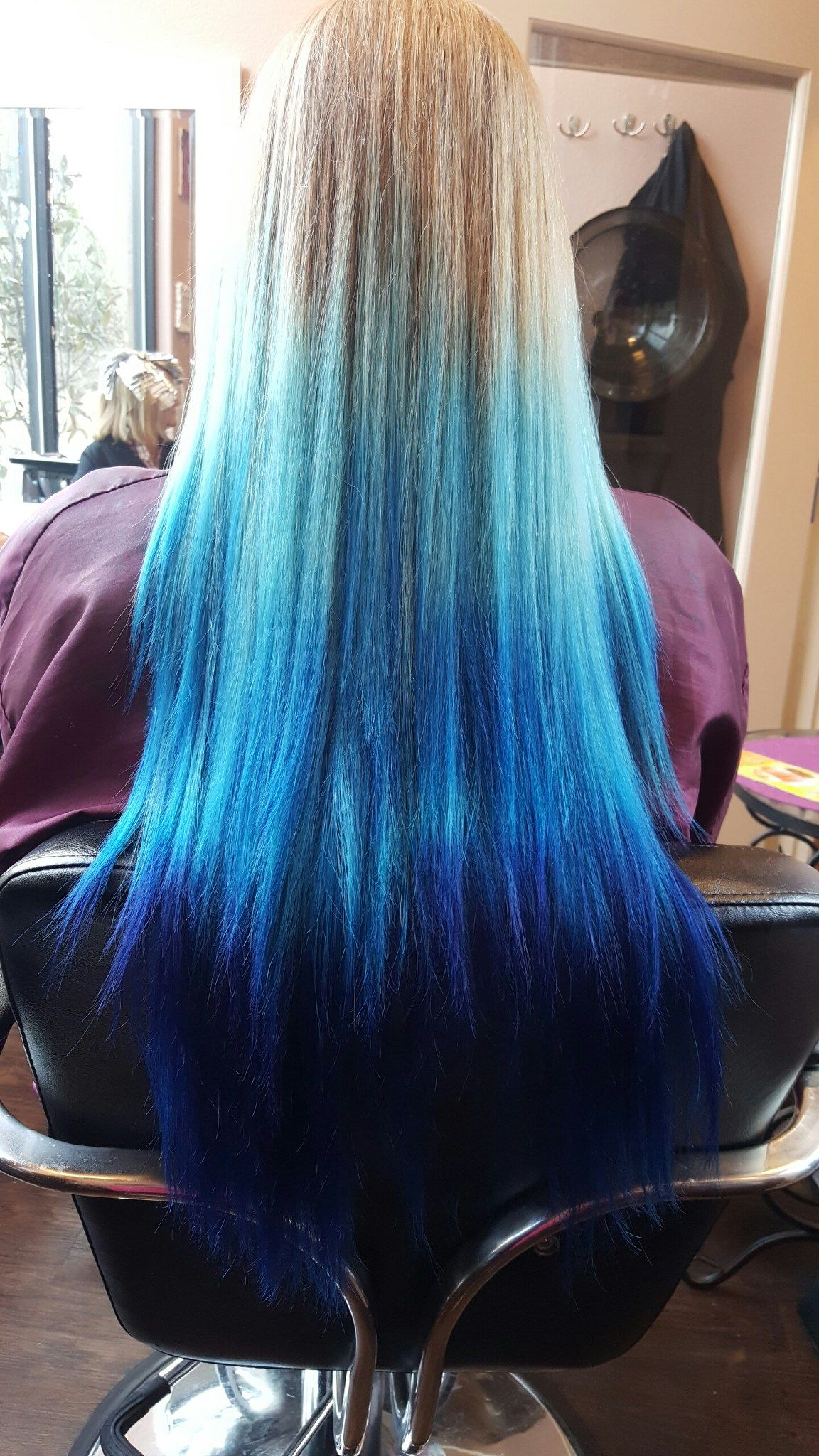 Natural Blonde To Dark Blue Ombre Hair Dyed Hair Blue Hair Color Blue Blue Ombre Hair