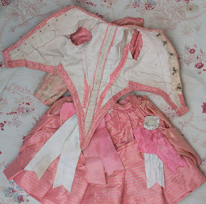 "Wonderful Antique pink and cream stripes silk dress for Jumeau Bru Steiner E.J. Eden bebe doll about 19-20"" Antique dolls at Respectfulbear.com"