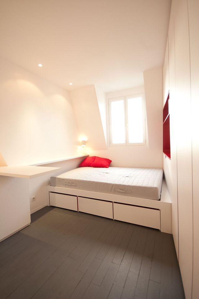am nagement studio paris 12 16m2 fonctionnel et contemporain petite surface pinterest. Black Bedroom Furniture Sets. Home Design Ideas