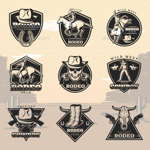 Black Vintage Rodeo Logos Set Hipismo Rodeio