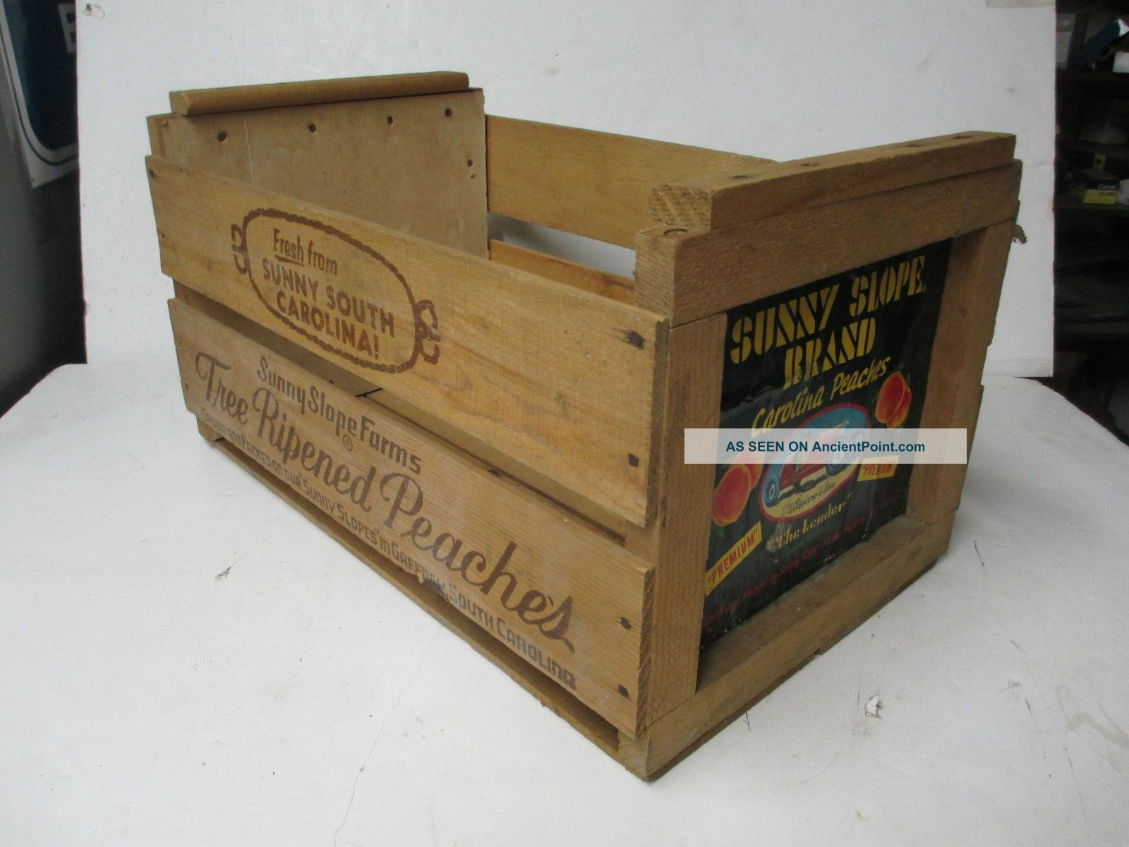 Vintage Wooden Peach Crate Sunny Slope Farms Brand Carolina Fruit Crates Sunny Slope Farm Vintage