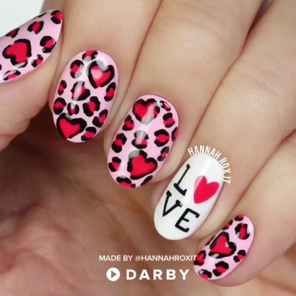 Leopard Heart Love Nail Art Nails Pinterest Nagel Teennagels