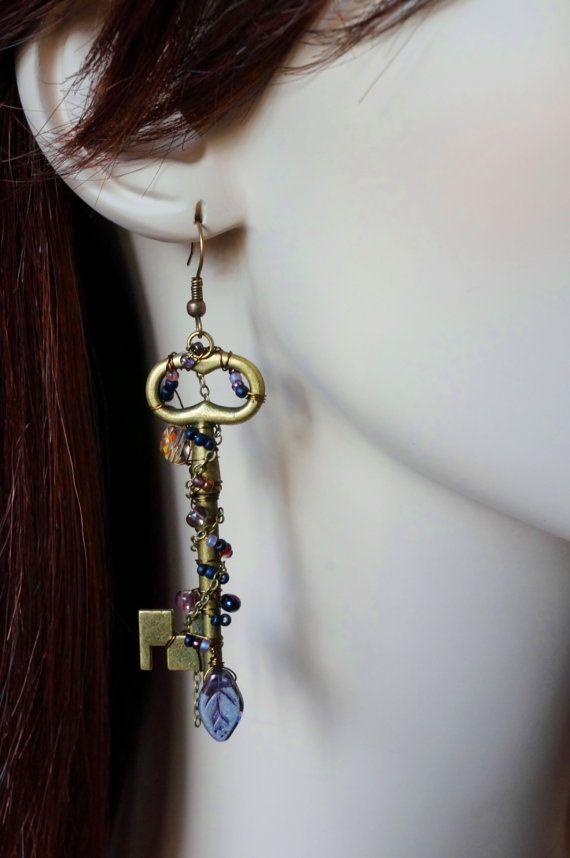 Wire Wrapped Earring, Skeleton Key, Steampunk Jewelry, Leaf Bead ...