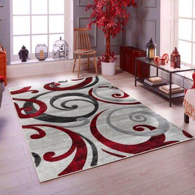 Latitude Run Spahn Swirls Contemporary Modern Red Silver Area Rug