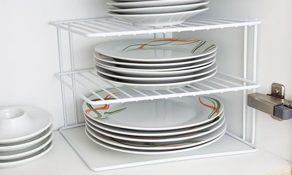 Three-Tier Corner Plate Rack