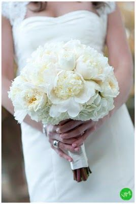 Bella Flora florist.... Wedding bouquet made of white hydraengas and white cabbage roses