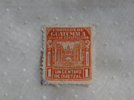 1945 Correos de Guatemala Sello de Construccion - 1 Centavo de Quetzal. Bright reddish color.