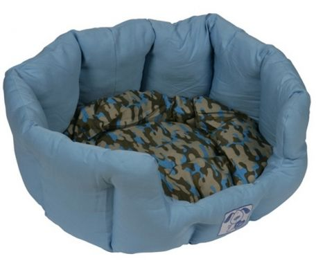 Yap Blue Oval Dog Bed; sometimes my owner can't see me
