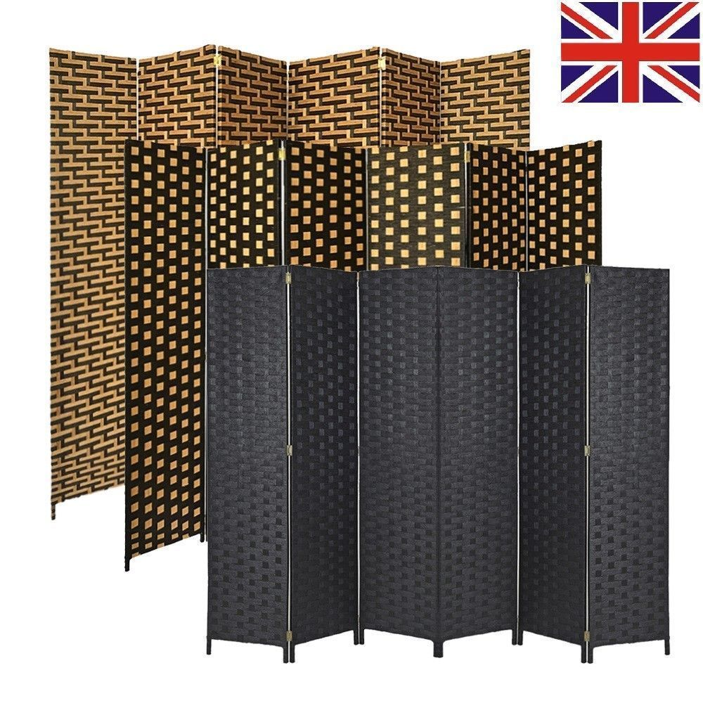 Wicker room divider separator screen wall panel privacy folding