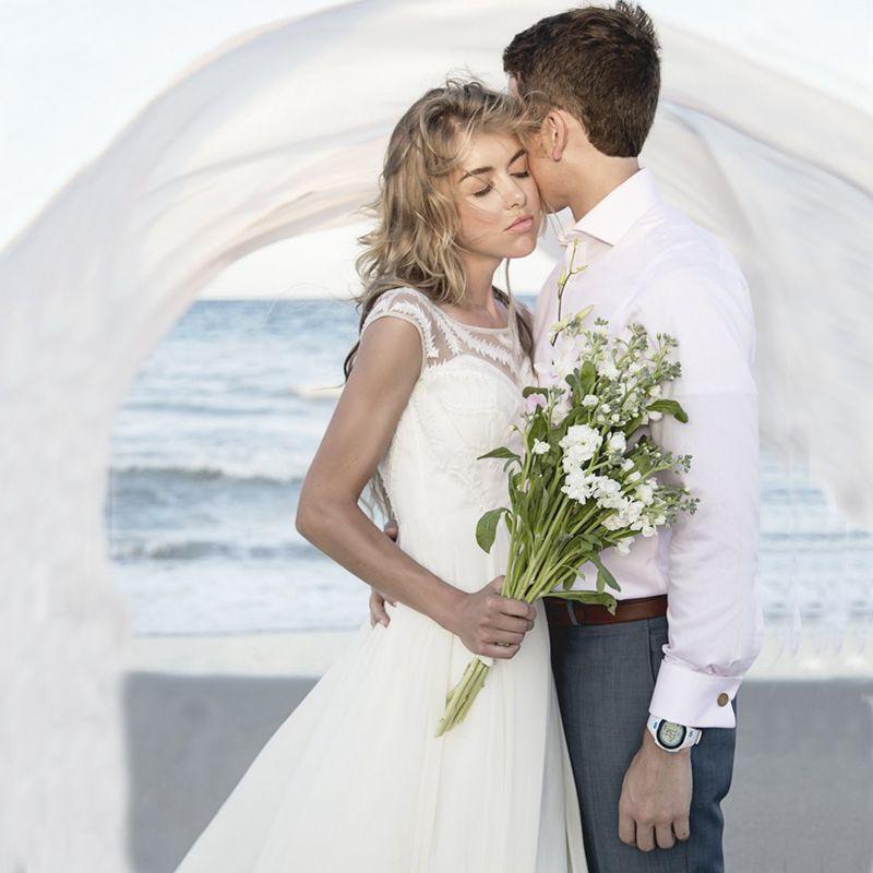 Flowy beach long train wedding dress scoop pretty chiffon