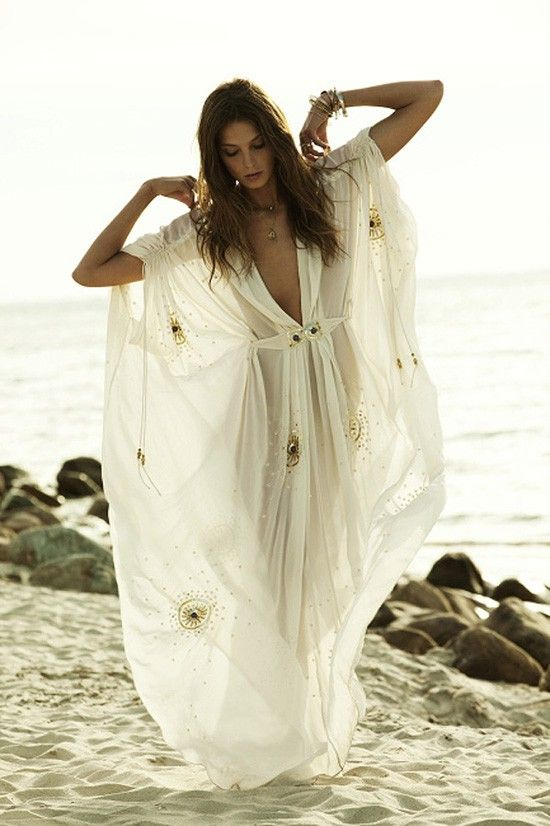 I want a sheer caftan for evenings at the beach.
