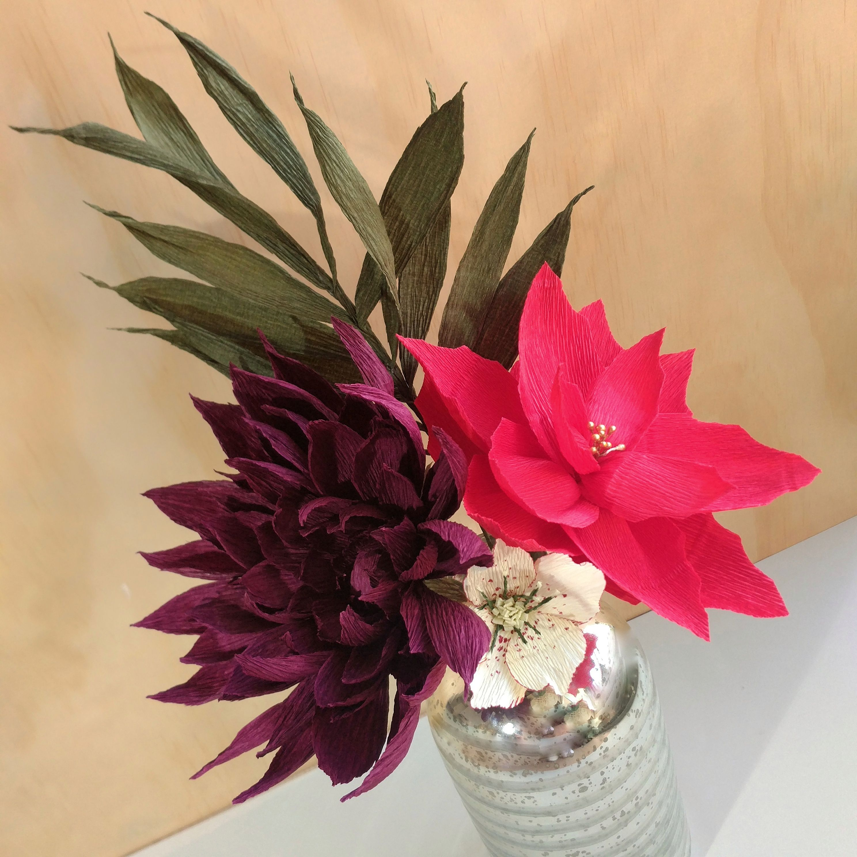 Christmas Paper Bouquet With Paper Poinsettia Dahlia And