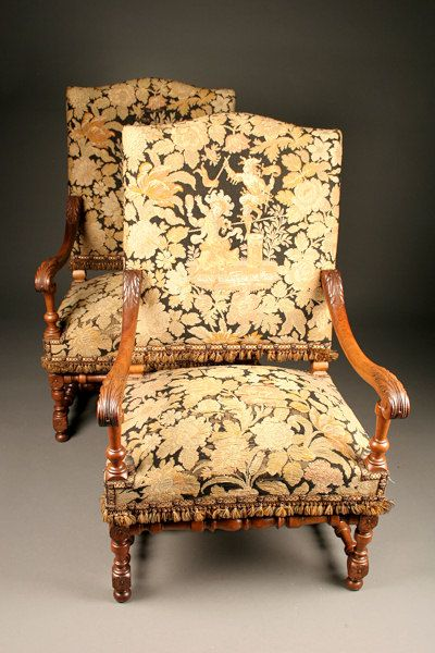 lovely pair of 19th century louis xiv style armchairs antique