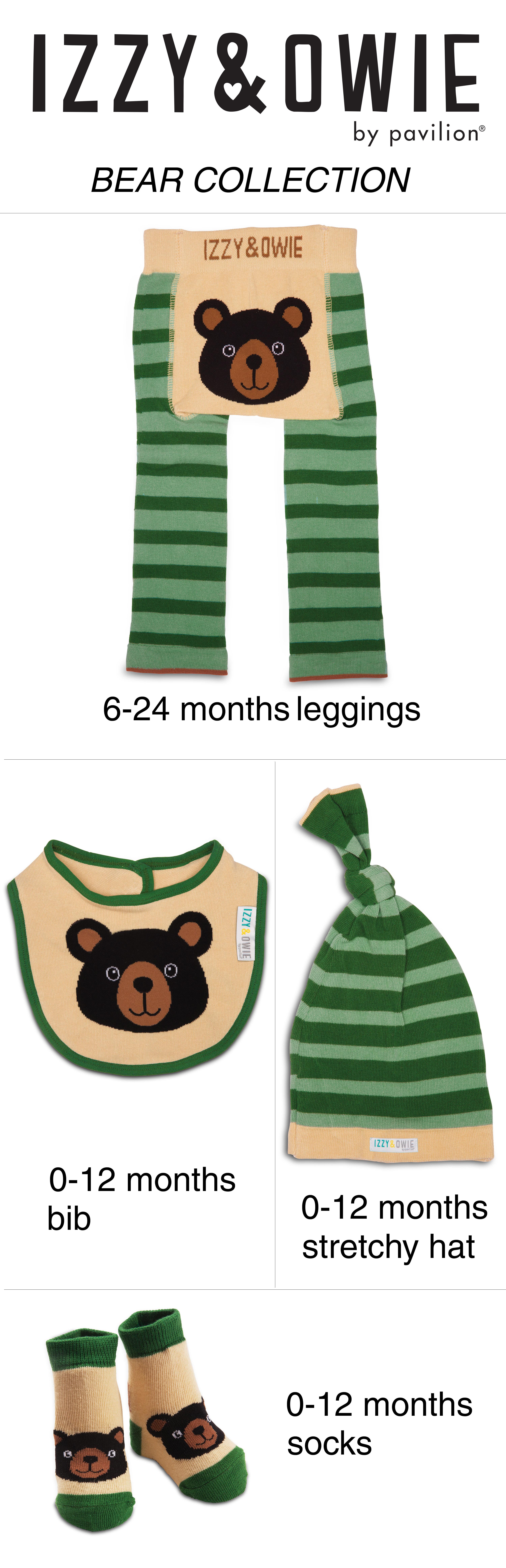 bf863efa784 Izzy   Owie - Black Bear Green Striped Forest Themed Baby Bib