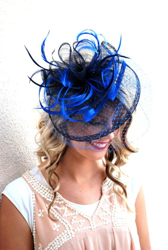 baa4a2c0 Royal Blue & Navy Fascinator, Womens Tea Party Hat, Hat with Veil ...