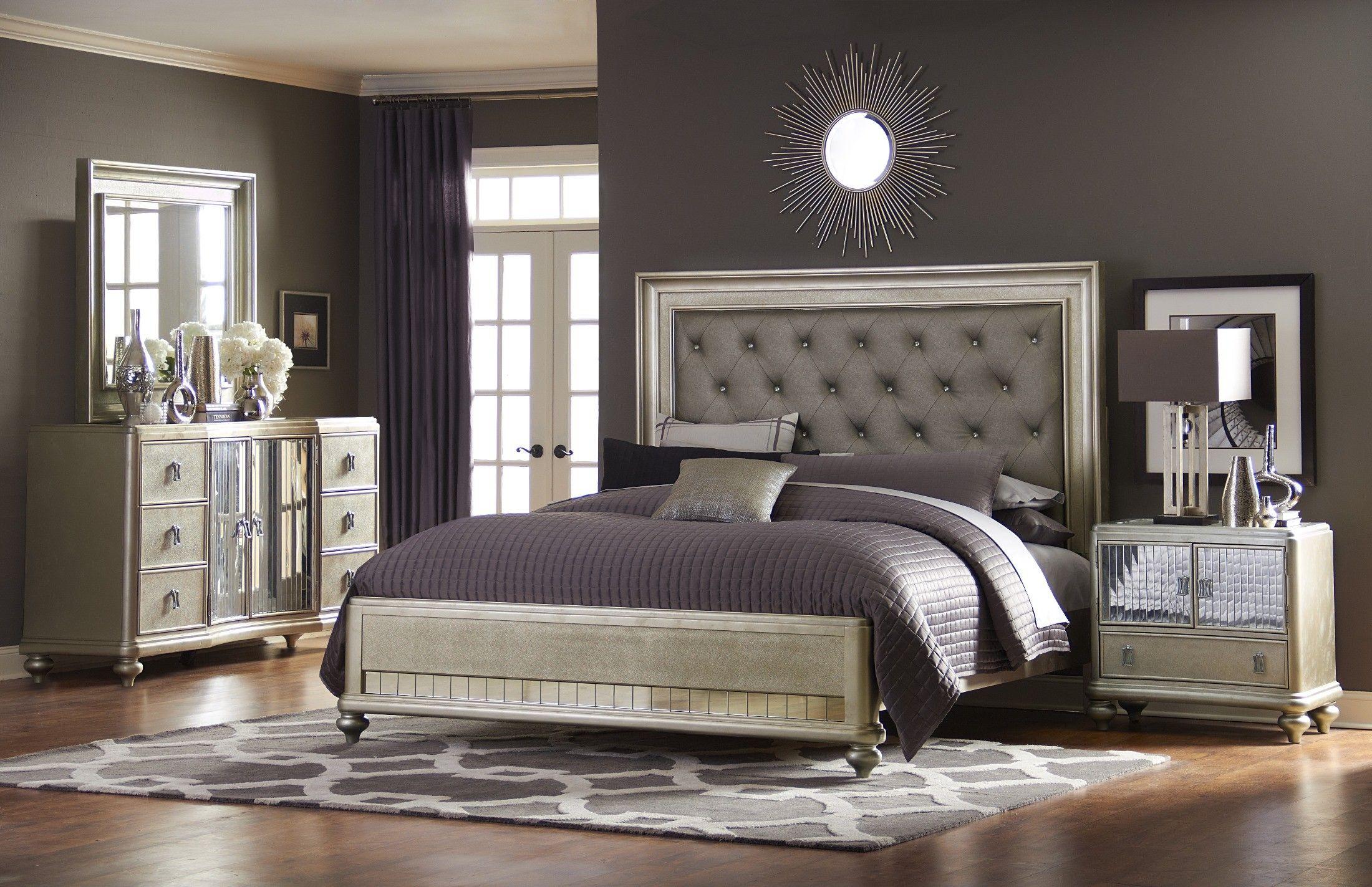 Platinum Platform Bedroom Set  Furniture Bedroom