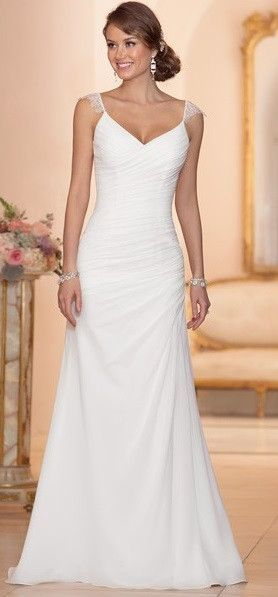 Chiffon Sheath Wedding Gown With Asymmetrical Ruching Throughout Bodice