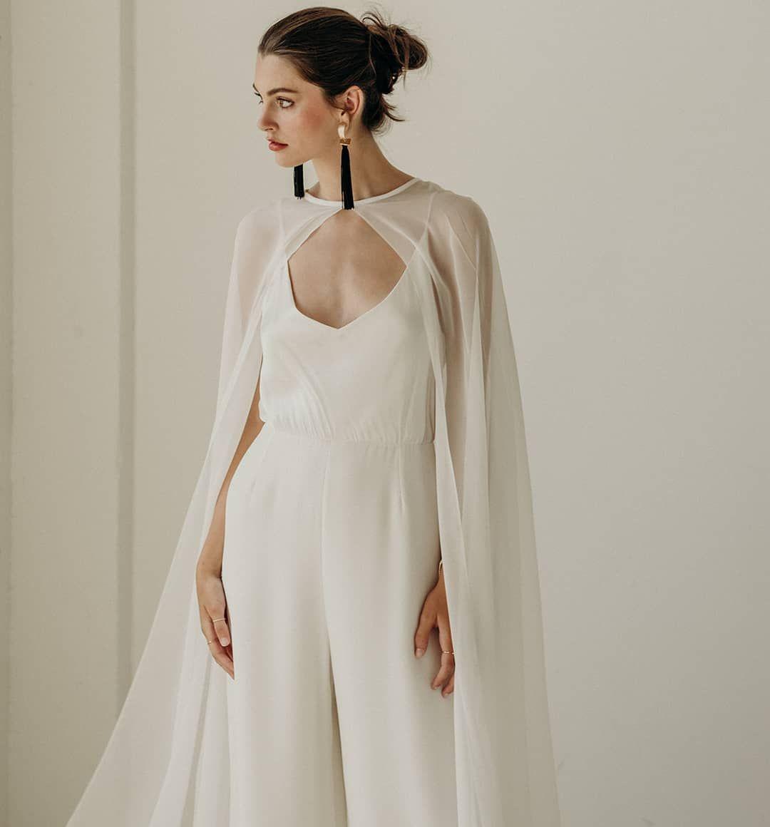 Chiffon cape paired with sleek Lily jumpsuit  Lena Medoyeff