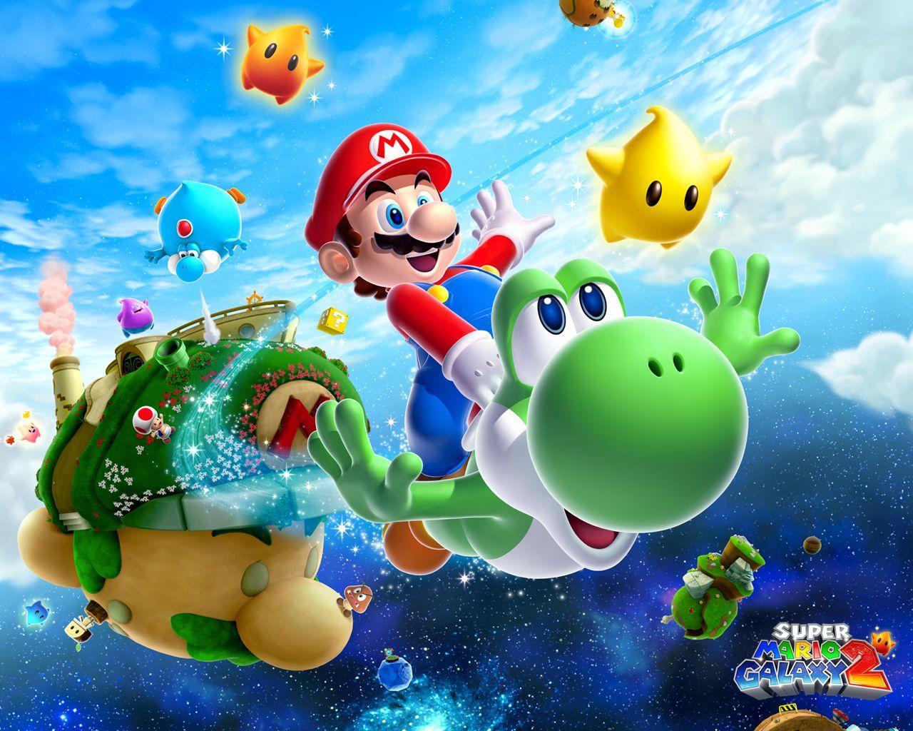 Mario Galaxy Wallpaper Juegos Super Mario Mario Y Fondos