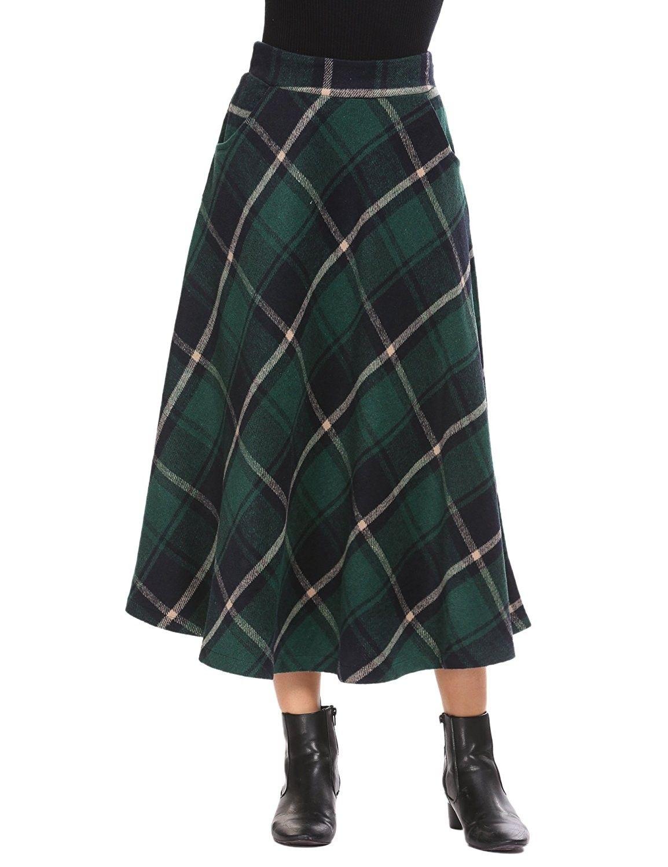 f70319c80 Women's Wool Tartan Elastic High Waisted Plaid Maxi Skirts - Green -  CV187N3QXT9,Women's Clothing, Skirts #women #fashion #clothing #style #sexy  #outfits # ...