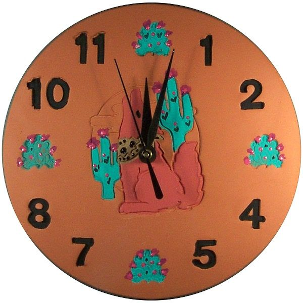 Southwest Cactus Coyote Design Wall Clock Available In 9