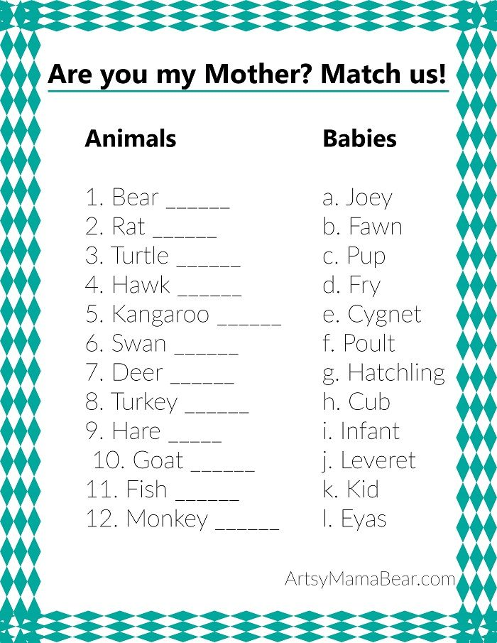 Animal matching baby shower game free printable for Baby shower game booklet template