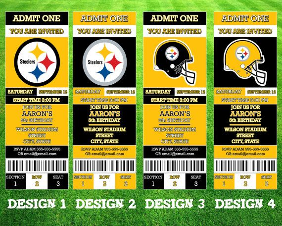 Pittsburgh Steelers Ticket Invitation Ticket Invitation Birthday
