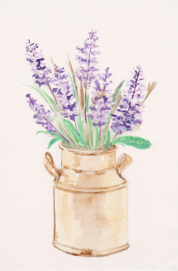 Lavender Herb Watercolor Print Kitchen Home Decor Bathroom Art