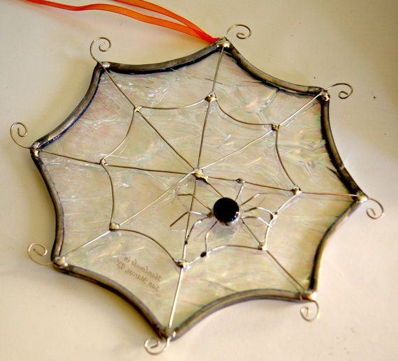 Halloween decor stained glass spider web October trends Fall decor - halloween decorations spider